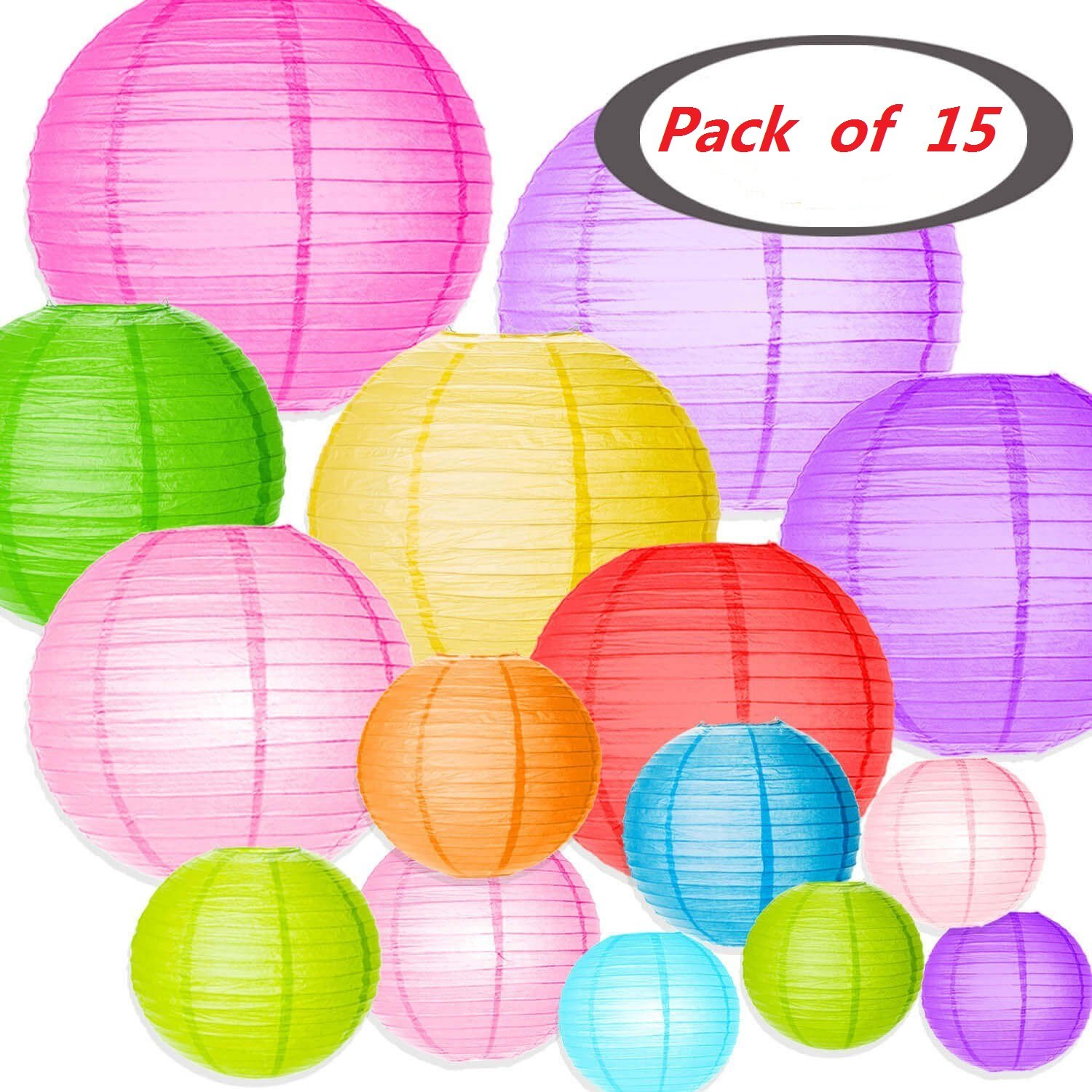 Colorful Paper Lanterns,JRing 15Pack Chinese/Japanese Paper Hanging Decorations Ball Lanterns Lamps for Home Decor, Parties, and Weddings (Assorted Colors and Sizes)