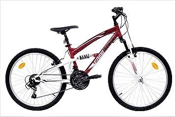 DenBike bicicleta-de-montana-mtb-24-full-suspension-naranjanegra