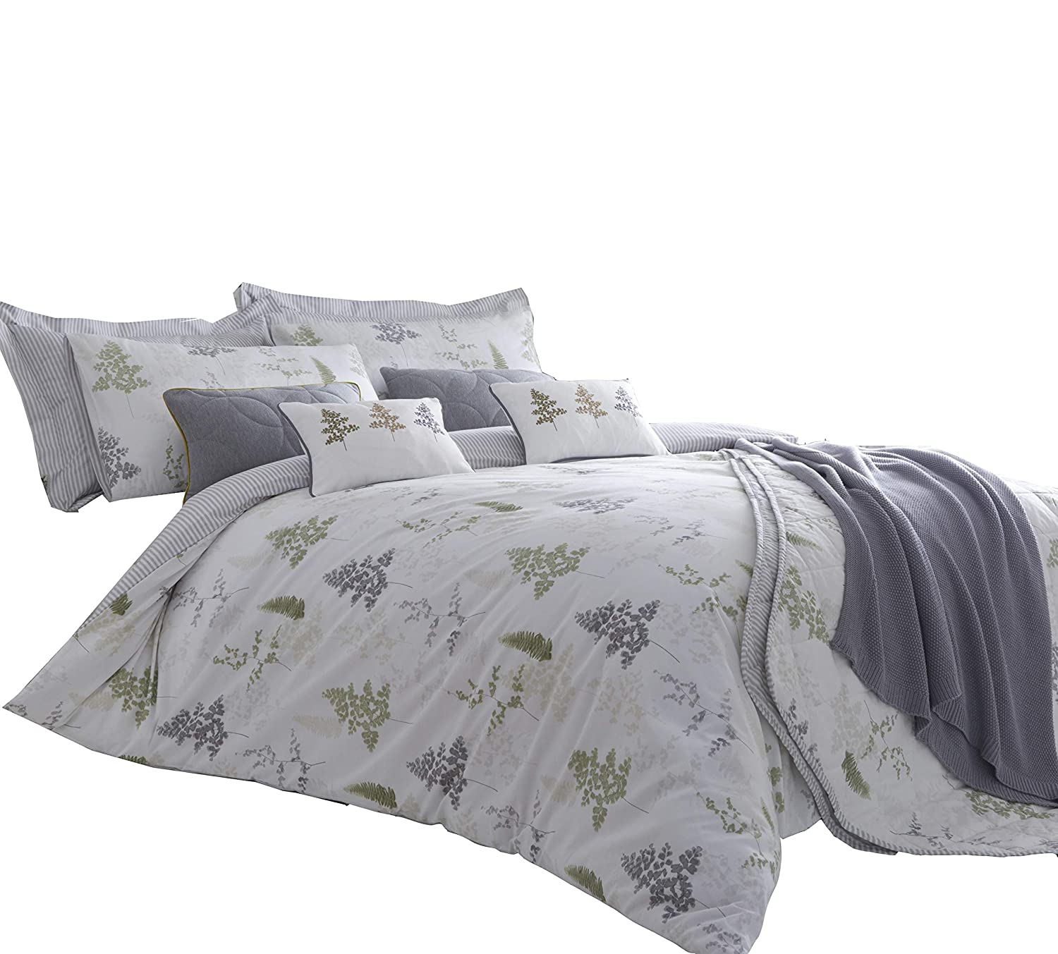 Green Grey Fern and Leaf Print Cotton Blend Reversible Duvet Cover Set With Matching Pillowcases - Double JR