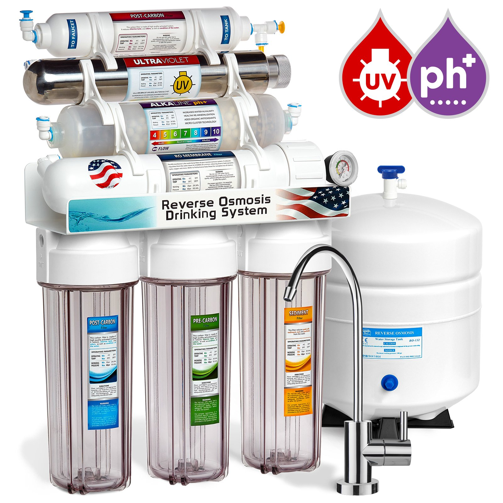 Express Water 11 Stage UV Ultraviolet + Alkaline + Reverse Osmosis Home Drinking Water Filtration System 100 GPD RO Membrane Filter - Modern Faucet - Clear Housing - Pressure Gauge
