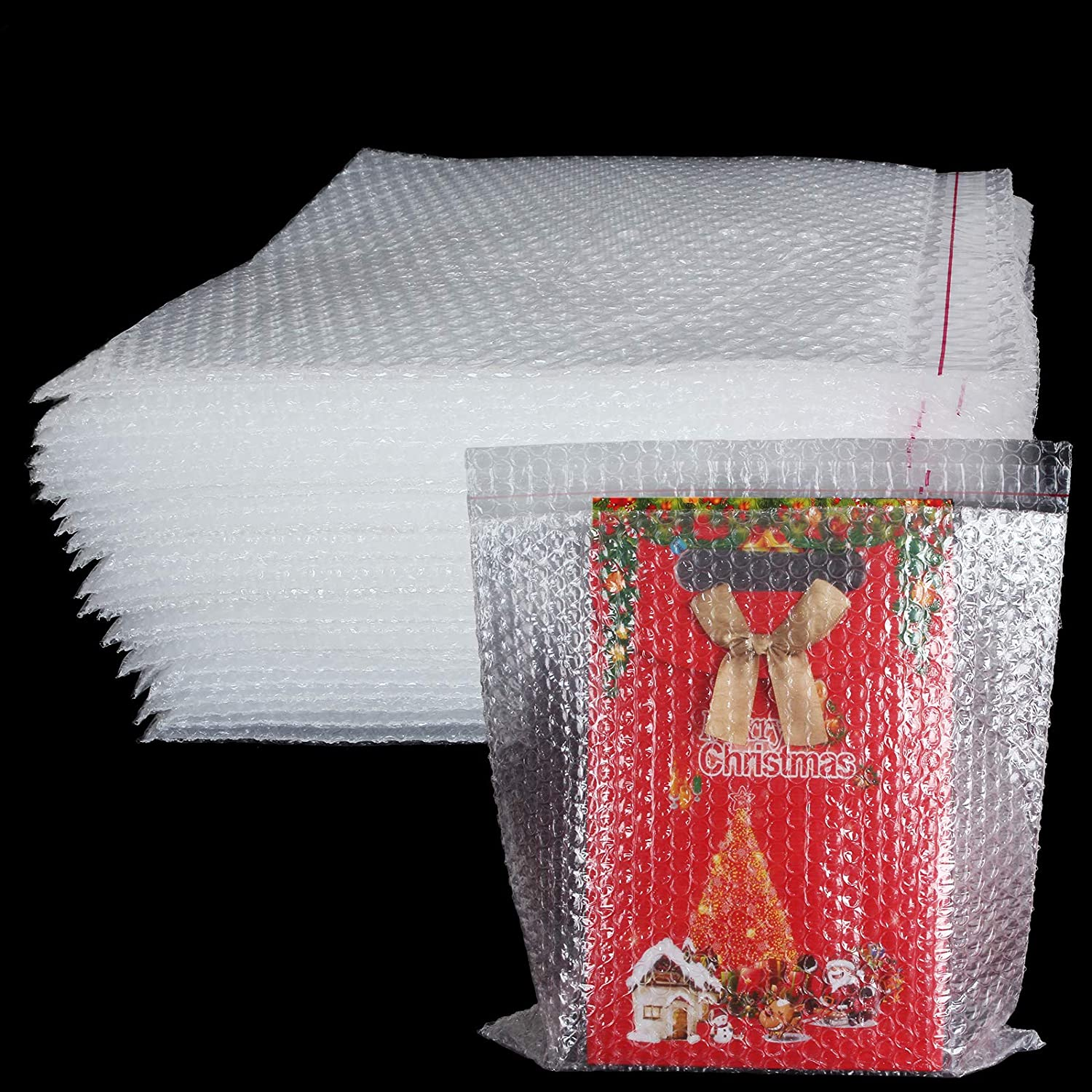 """Bubble Out Bags 12"""" x12"""", 30 Pack Clear Bubble Pouches Bags Double Walled Cushioning Bags, Self-Sealing Protective Wrap Cushioning Pouches for Shipping, Packing and Moving"""