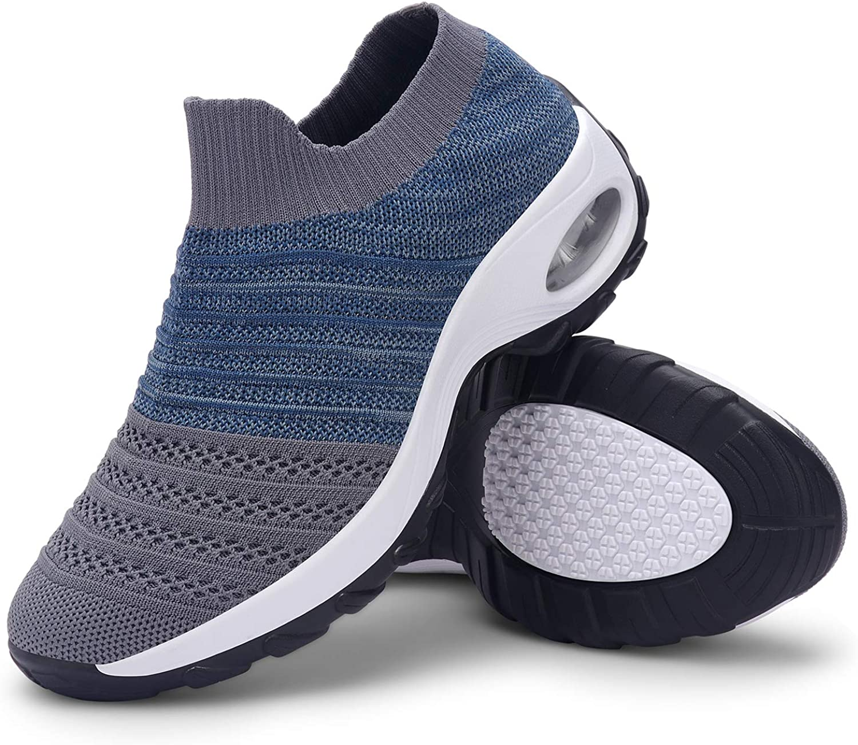incarpo Womens Walking Shoes Sock Sneakers Slip on Breathable Mesh Platform Air Cushion Sneakers Sock Shoes