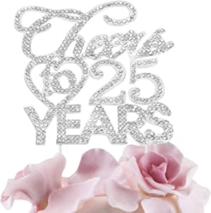 Bling Crystal Cheers To 25 Years Cake Topper - Best Keepsake 25th Birthday Or Anniversary Decor Party Decorations Silver