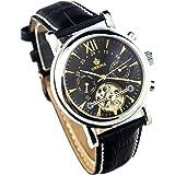 GuTe出品 トゥールビヨン 可愛らしい スタイリッシュ 革バンド 優雅 カジュアル 日付、曜日表示 ブラック メンズ 自動巻き腕時計