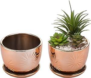 MyGift Rose Gold Starburst Design Ceramic Planter with Saucer, Set of 2