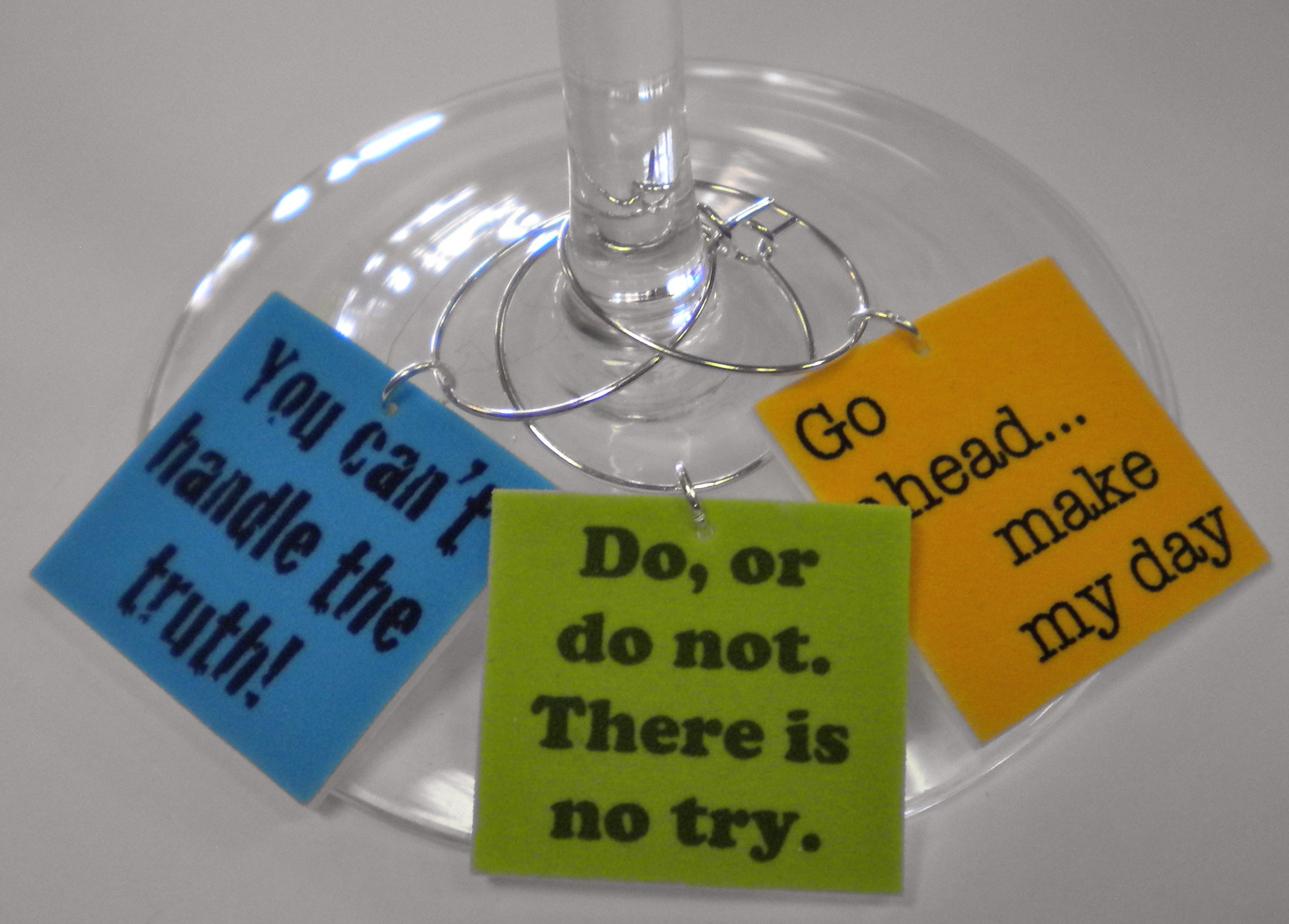 FortySevenGems Set of 12 Movie Quotes Collection #1 Wine Charms Mailed in a Gorgeous Gift Tin