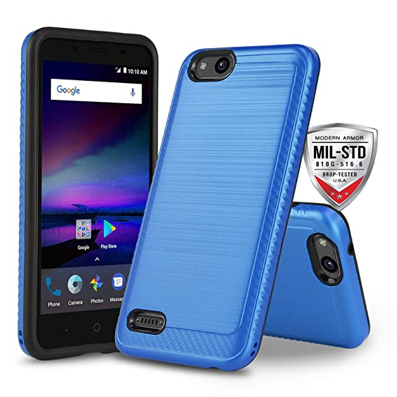 separation shoes 49eda d818e Phone Case for [ZTE ZFIVE G LTE (Z557BL) / ZTE ZFIVE C LTE (Z558VL)],  [Modern Series][Blue] Shockproof Cover [Impact Resistant][Defender]  (Tracfone, ...
