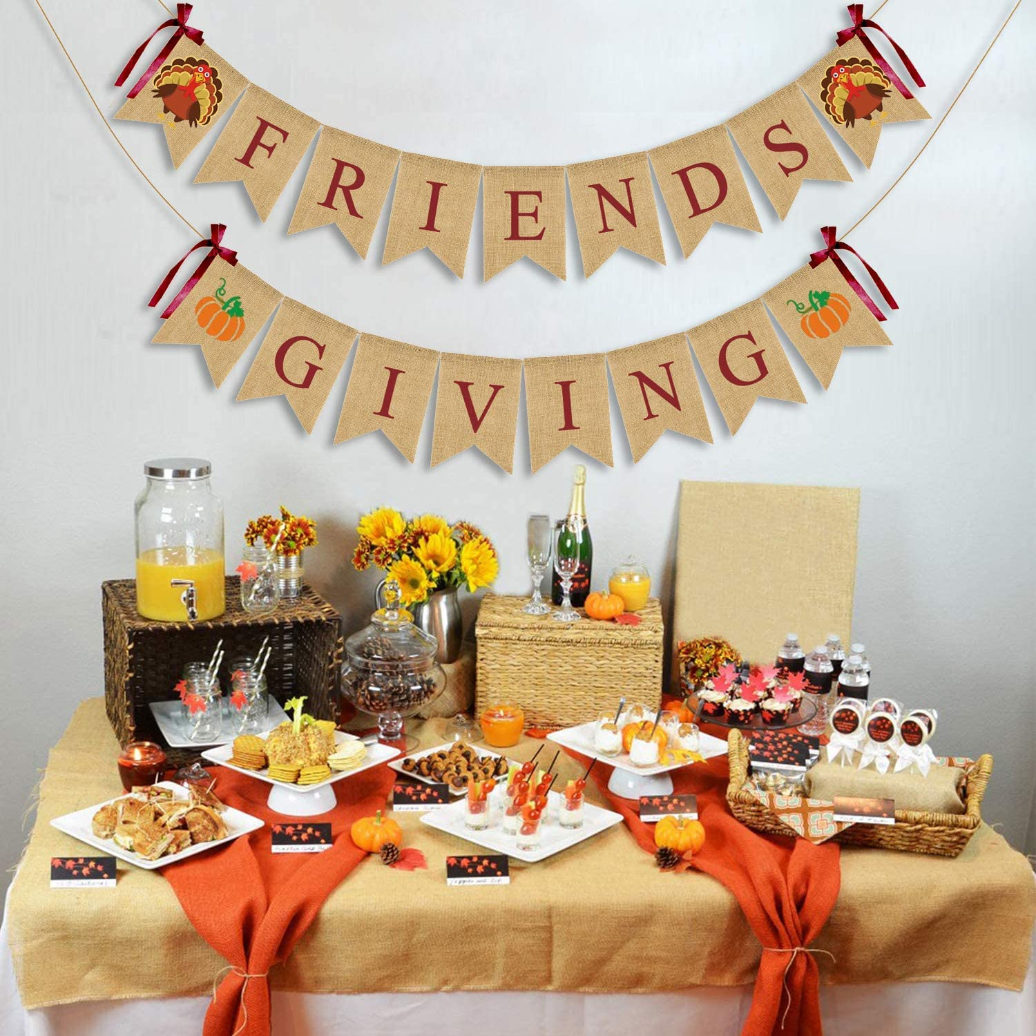 JOZON Friendsgiving Burlap Banner Thanksgiving Bunting Banner Garland with Turkey Pumpkin Sign for Thanksgiving Party Decorations Friends Giving Decor for Mantle Fireplace Wall Party Supplies