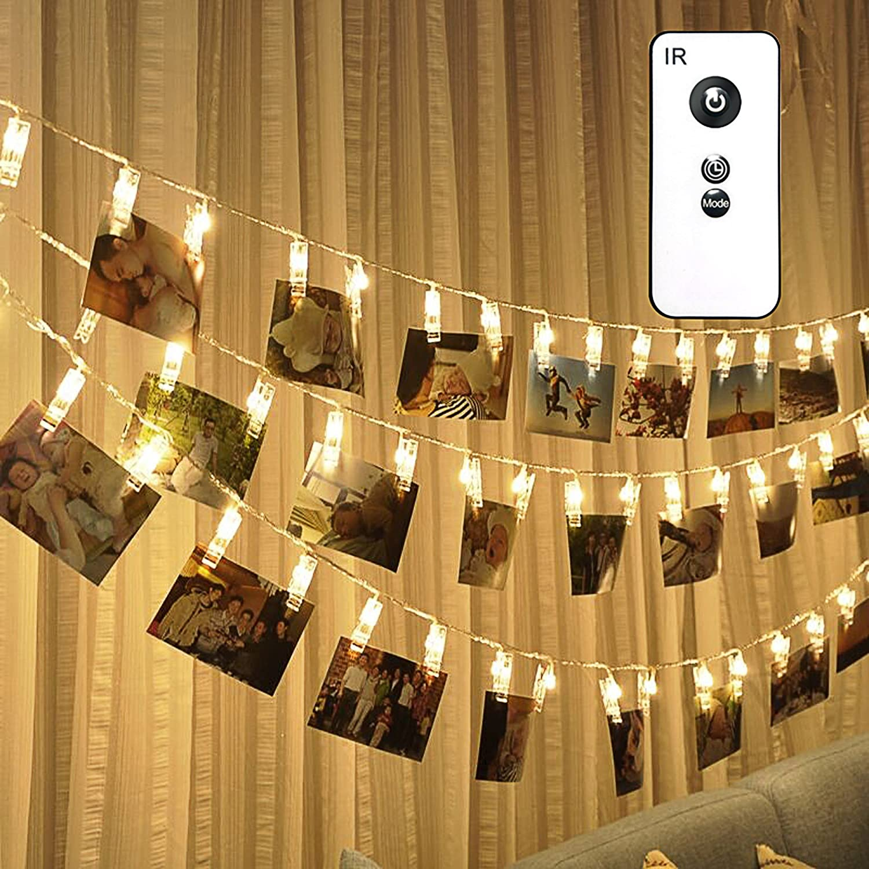 decoraci/ón de fotos Cadena de luces LED con clip para fotos bodas para fiestas tarjetas de Navidad reutilizables 40 unidades