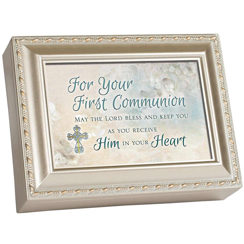 独創的 First Communion B00MHWSL96 Cottage – Gardenシャンパンシルバー仕上げブラシ仕上げゴールドカラートリムジュエリー音楽ボックス Song – Plays Song Amazing Grace B00MHWSL96, 矢巾町:e3ac47b8 --- arcego.dominiotemporario.com