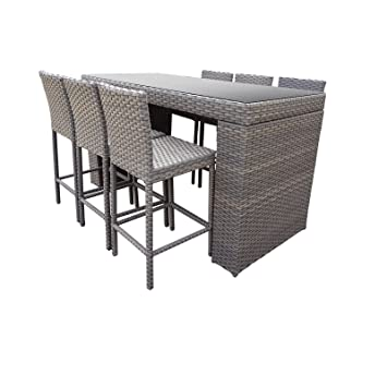 TK Classics Oasis Bar 7 Piece Outdoor Wicker Patio Table Set With Barstools  Furniture, Grey
