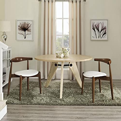 Modway Stalwart Mid-Century Modern Wood Frame and Faux Leather Seat Dining Side Chairs, Two, Dark Walnut White