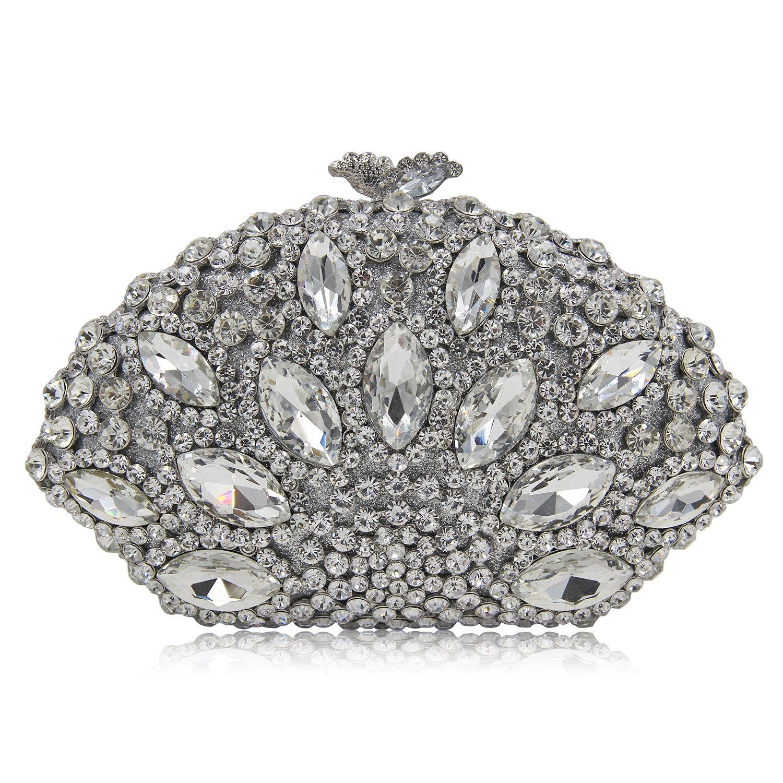 Milisente Women Evening Bag Gillter Diamond Crystal Shell Clutch Purse Bag (Silver)