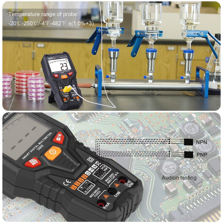 TACKLIFE Multim/ètre DM06//Multim/ètre Num/érique//Gamme Automatique 6000 Comptes//Mesure Intelligente /à Un Bouton//Test de Tension,Courant,Temp/érature,Transistors