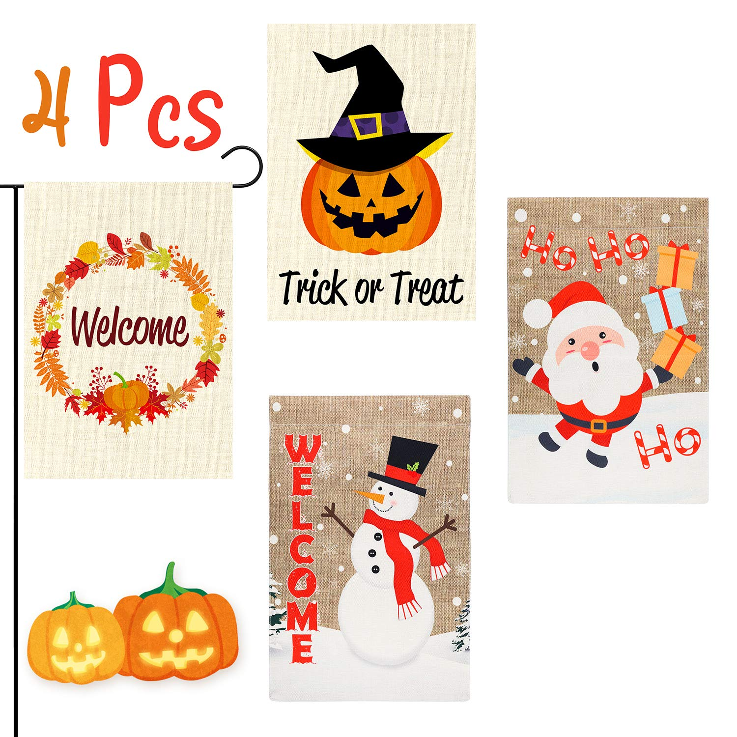 GROBRO7 4Pcs Happy Halloween Garden Flag Merry Christmas Flag Pumpkin House Decorative Snowman Welcome Santa Claus Double Sided Print Seasonal Outdoor Décor for Fall Winter Holiday 12x18 Inch