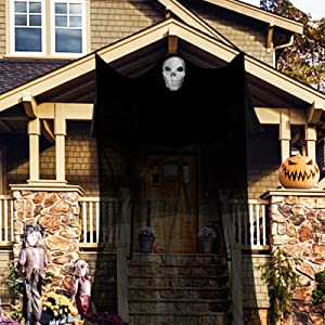 Kidtion 82 sqft Halloween Hanging Ghost, 150 inch Scary Creepy Halloween Decoration with Skeleton Mask, Large Authentic Ghost for Party Yard Indoor and Outdoor, Haunted House Decor Accessories