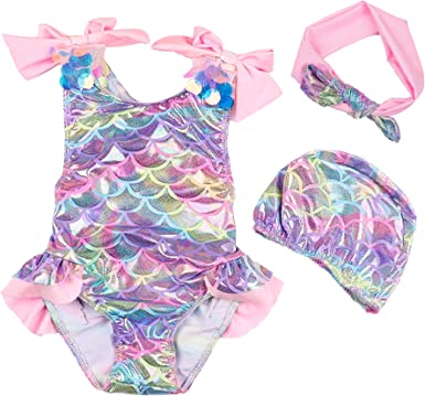 Baby Infant Toddler Girls Backless One Piece Swimsuit Mermaid Fish Scales Swimwear Bathing Suit