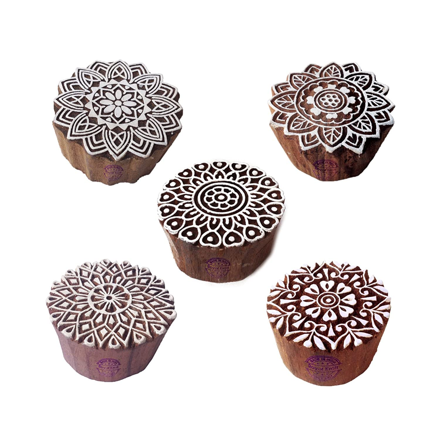 Artistic Motif Round and Mandala Block Print Wood Stamps (Set of 5) Royal Kraft Htag1086