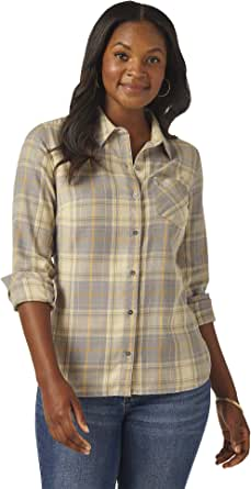 Riders by Lee Indigo Womens Heritage Long Sleeve Button Front Plaid Flannel Shirt Long Sleeve Shirt - Gold - Small