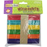 "Chenille Kraft CK-367502 Assorted Colored Wooden Craft Sticks, 4.1"" Wide, 4.8"" Length, 1.4"" Height (150 count)"