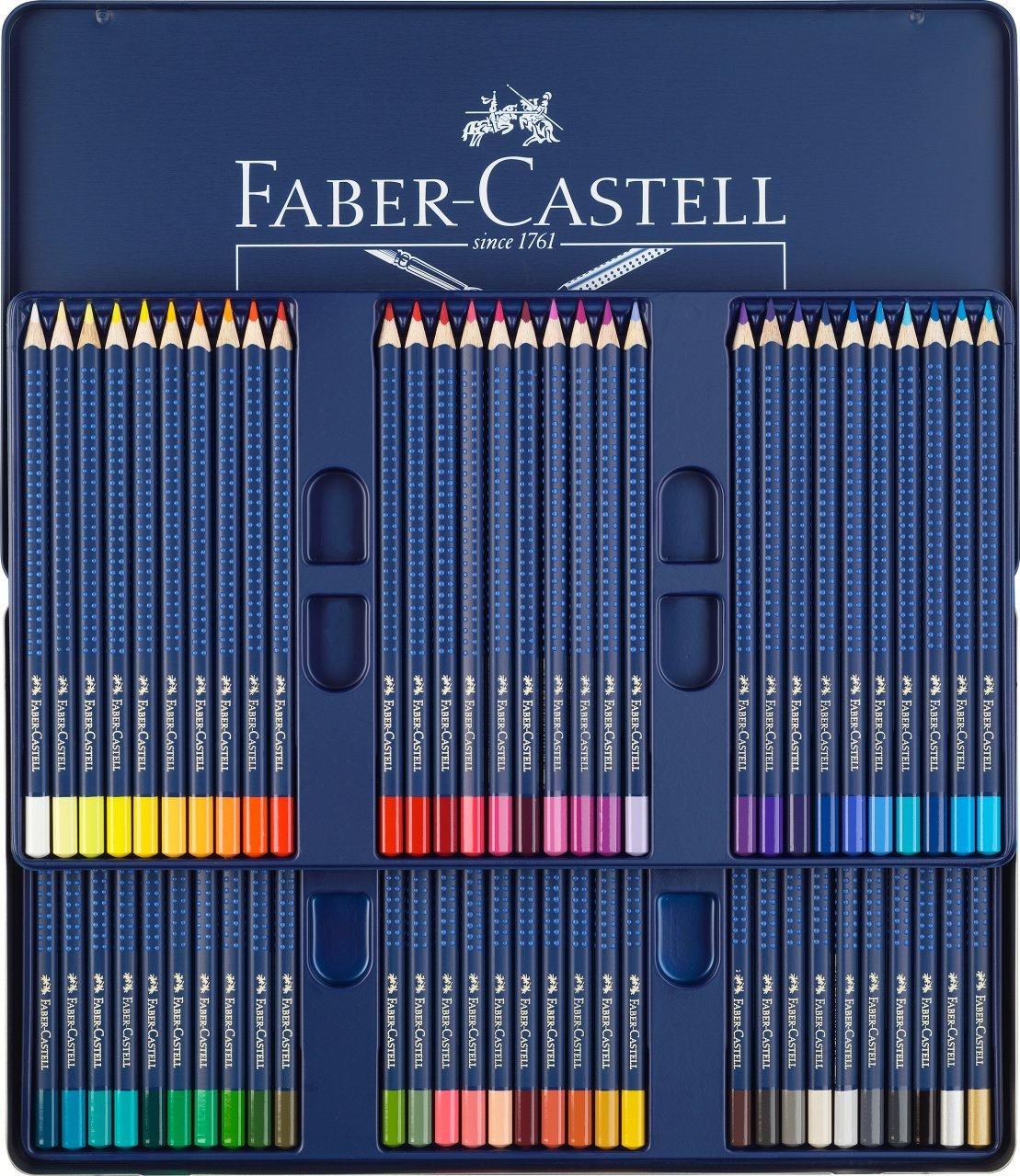 Faber Castell Art GRIP Aquarelle Watercolor Pencils Set, Tin of 60 Pencils