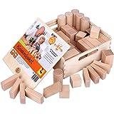 CreaBLOCKS Boîte de 54 blocs de construction en bois naturel non traité pour petits enfants à partir de 6 mois
