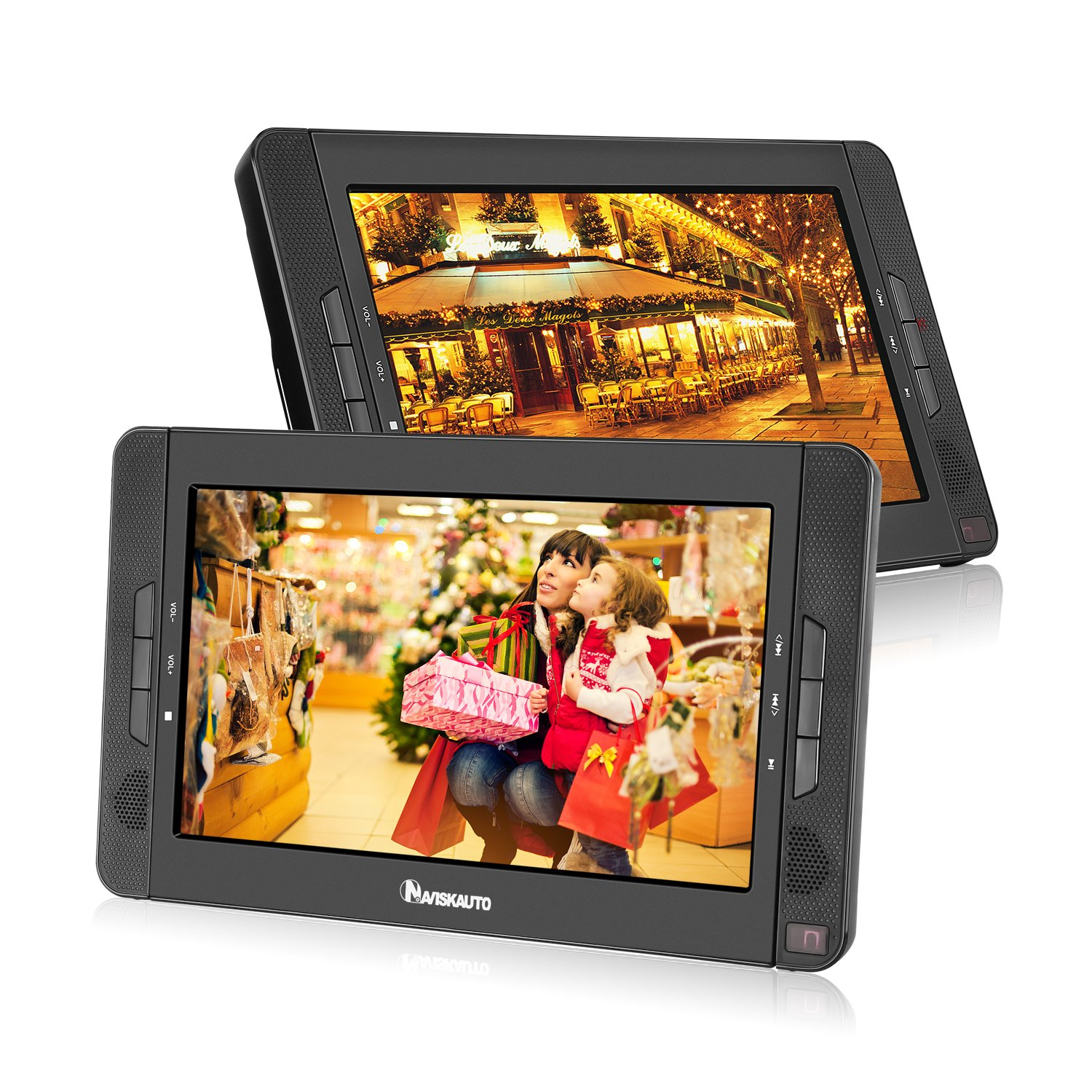 10.1'' Dual Screen Portable DVD Player with 5-Hour Built-In Rechargeable Battery-Black (Dual DVD Players)