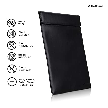 b2b41555e324 Silent Pocket Large Faraday Bag Cage Cell Phone Sleeve Pouch - Blocks All  Wireless Signals