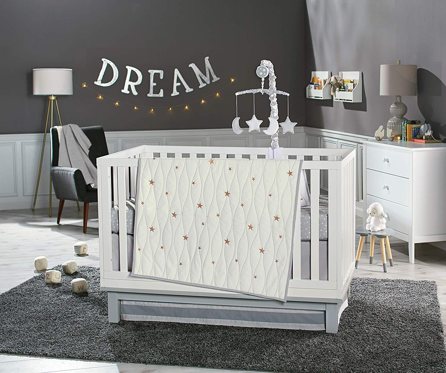 Koala Baby Sparkling Dreams Collection 4 Piece Crib Bedding Set White/Gold