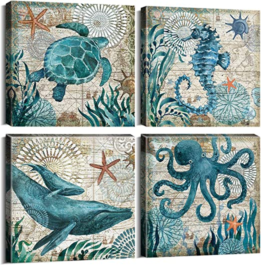 SUMGAR Ocean Wall Art Bathroom Beach Blue Canvas Paintings Nautical Coastal Pictures Rustic Decor Seahorse Starfish Artwork Set of 4 Marine Life Theme Bedroom Decorations 12x12 inch