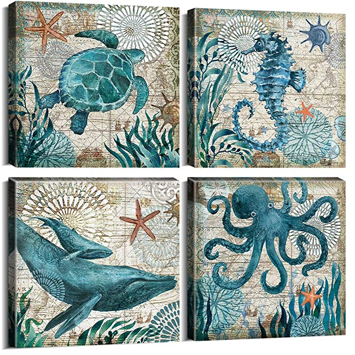 "Teal Home Wall Art Decor - Ocean Theme Mediterranean Style Canvas Prints Framed and Stretched Ready to Hang Sea Animal Octopus Turtle Seahorse Whale Pictures Posters Bathroom - 12 x 12"" Panel Set of 4"