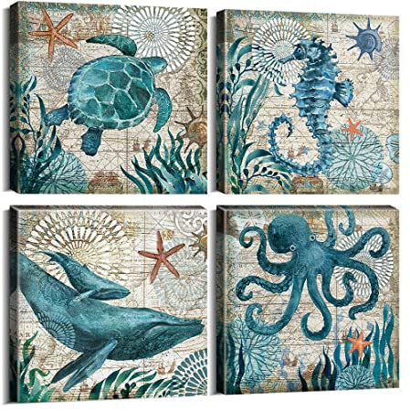 Teal Home Wall Art Decor – Ocean Theme Mediterranean Style Canvas Prints Framed and Stretched Ready to Hang Sea Animal Octopus Turtle Seahorse Whale Pictures Posters Bathroom – 12 x 12 Panel Set of 4