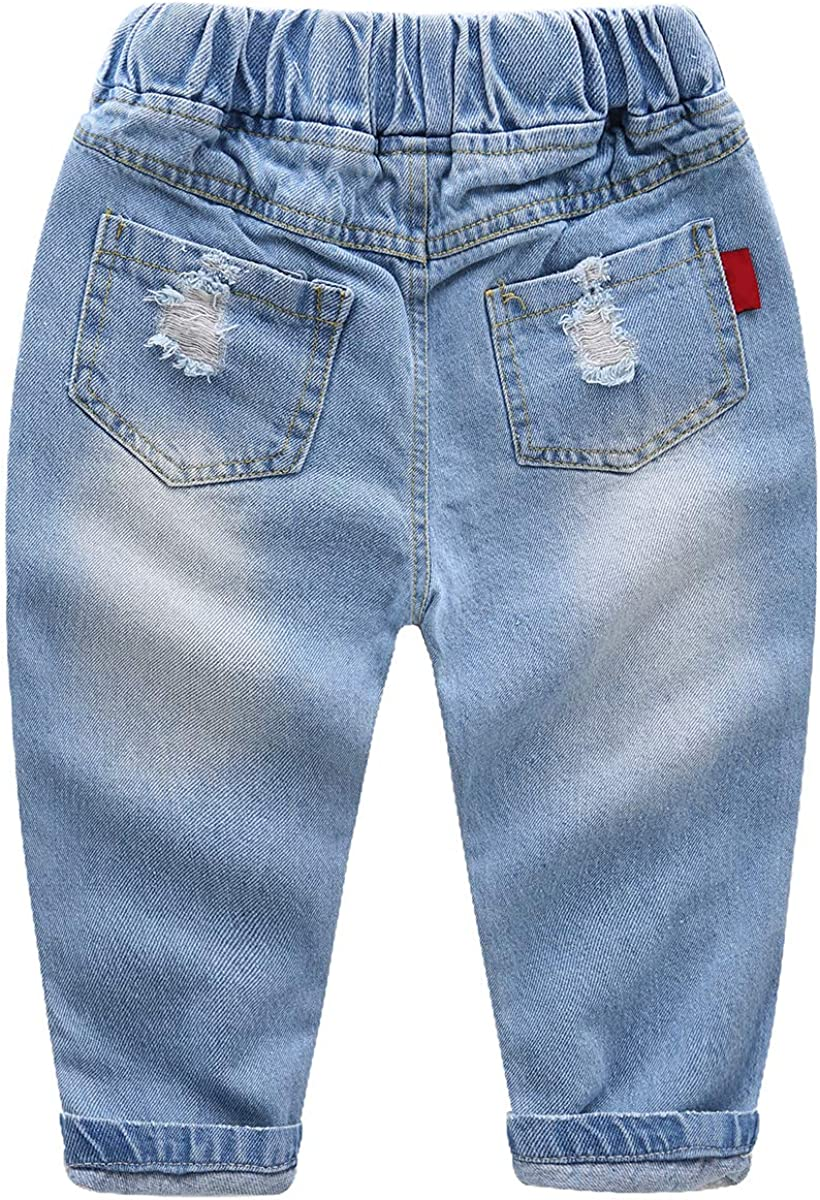 famuka Toddlers Kids Boy Ripped Jeans Fashion Holes Denim Long Pants