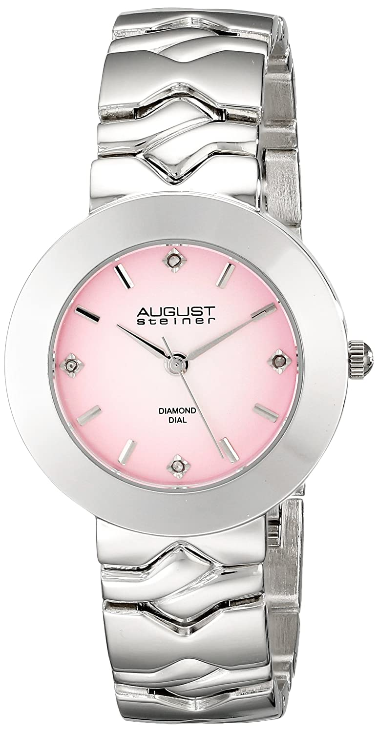 August Steiner Women 's as8157pkシルバーQuartz Watch with Pink Dial andシルバーブレスレット B00NIG143U