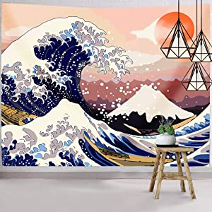 Hexagram Ocean Wave Tapestry Wall Hanging, Japanese Mount Fuji Wall Tapestry, The Great Wave Wall Art Tapestry Home Decorations for Room Dorm Decor