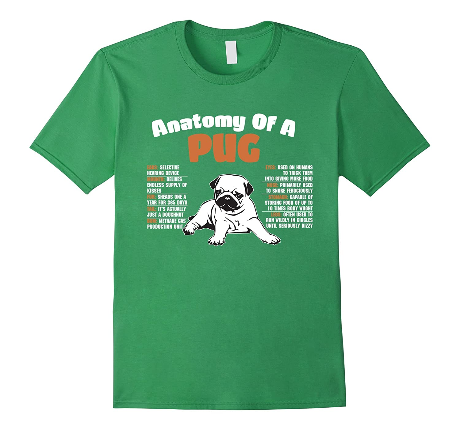 Worlds Cutest cute Anatomy Of A Pug Funny Full Tee Color-Vaci