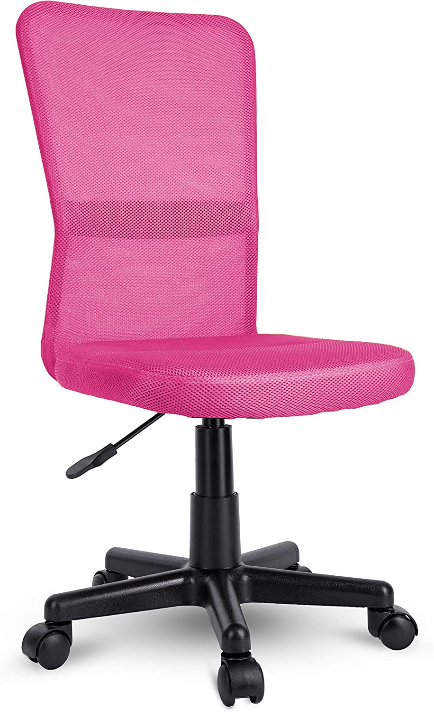 TRESKO Silla de Oficina Escritorio giratoria, Disponible en 7 Variantes de Colores, con Ruedas para Suelos Duros, Regulable en Altura de Forma Continua, Asiento Acolchado, Respaldo ergonómico (Rosa)