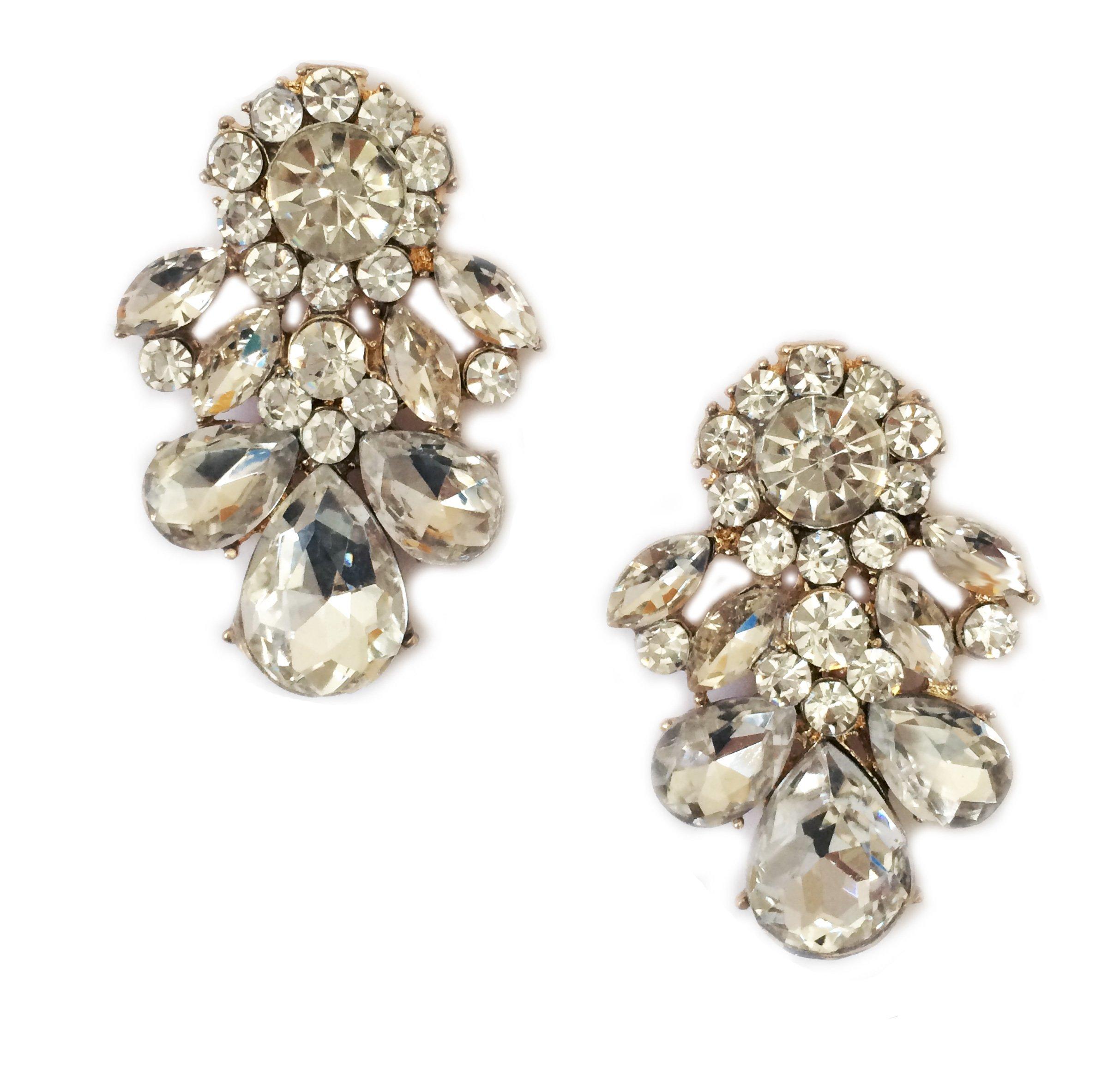 Gold Tone Art Deco Antique Vintage Style Rhinestone Crystal Wedding Bridal Prom Earrings