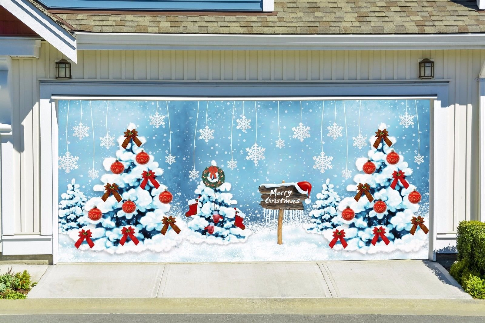 Colorful Christmas Tree Snowflakes Banners for 2 Car Garage Door Covers Outdoor Billboard Garage Door Holiday Christmas Decor Full Color House Murals Made In The USA size 82x188 inches DAV20 by WallTattooHome