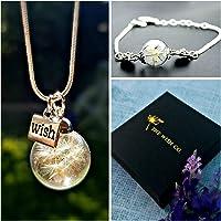 Collar y pulsera de diente de león Set de regalo - Colgante con cadena de plata esterlina brazalete de plata conjunto de joyas para niñas regalo de cumpleaños para hermana