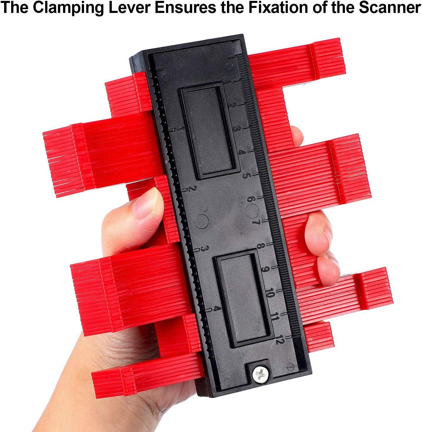 Contour Gauge Duplicator Willingood Profile Measuring Tool Plastic Woodworking Shape Tracing Template Contour Copy Duplicator Circular Frame Profile Gauge Ruled 5 inch