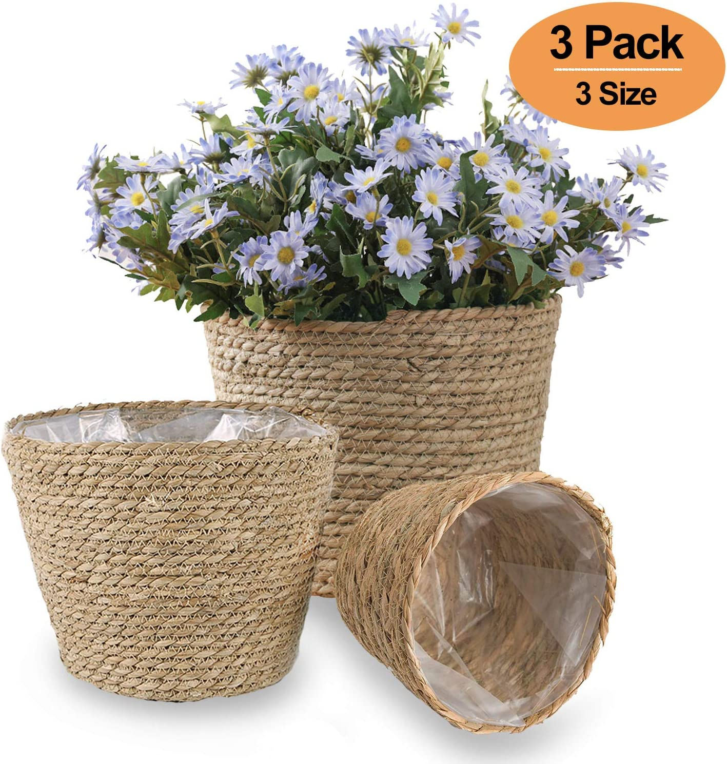 DeeCoo Pack of 3 Handmade Seagrass Planter Basket Indoor Outdoor Flower Pots,Plant Containers, Plant Pot Cover Basket, Storage Bin Plant Holders, Flower Woven Baskets Rope Basket, Natural Fiber Basket