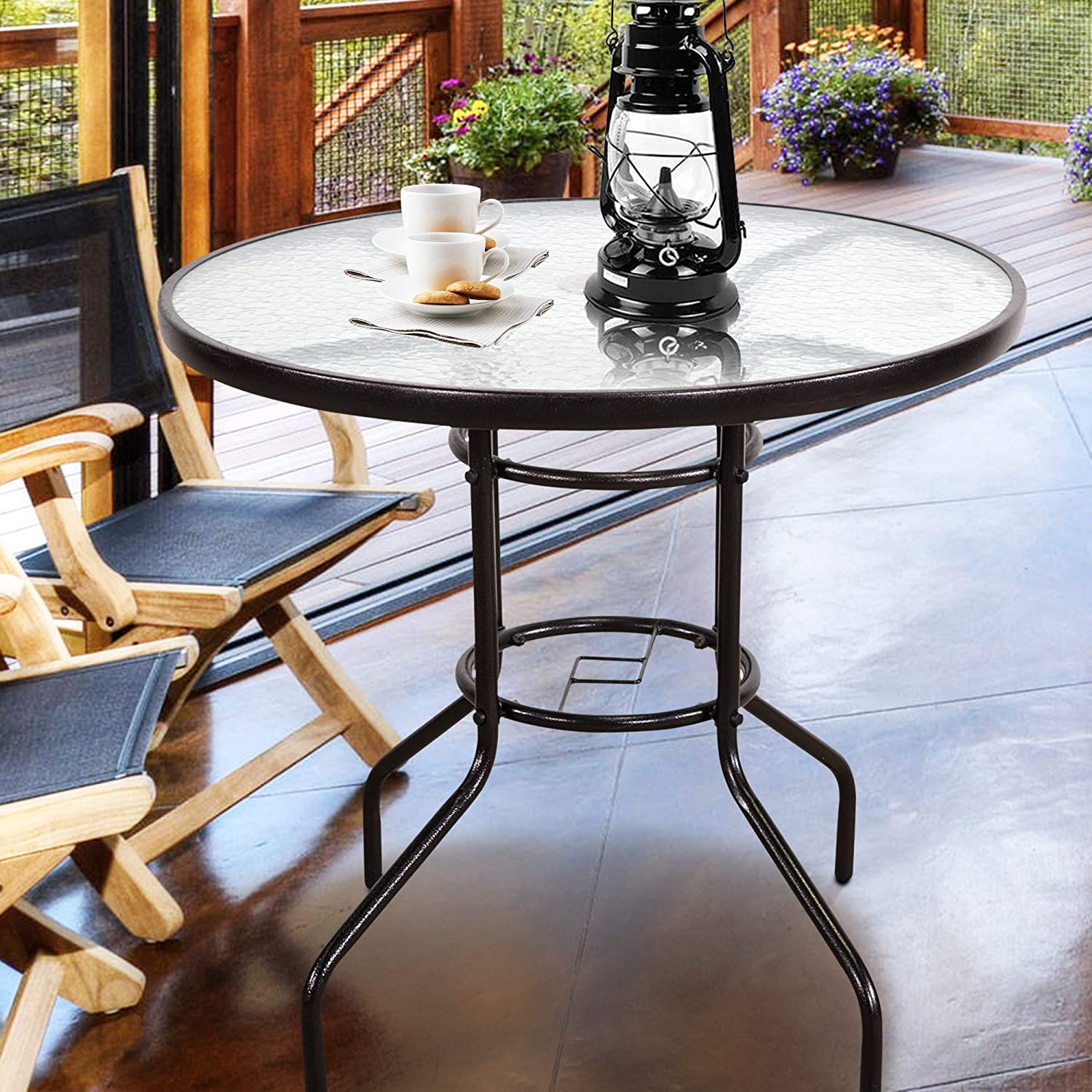 Homevibes 32 Outdoor Patio Dining Table Tempered Glass Top Bistro Table Top Umbrella Stand Round Deck Furniture Garden Table Metal Frame Dark Chocolate Garden Outdoor