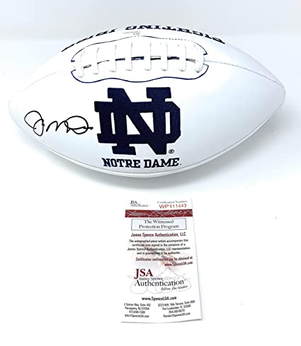 13e4c17ca9a Joe Montana Notre Dame Fighting Irish Signed Autograph Embroidered Logo  Football Montana JSA Witnessed Certified