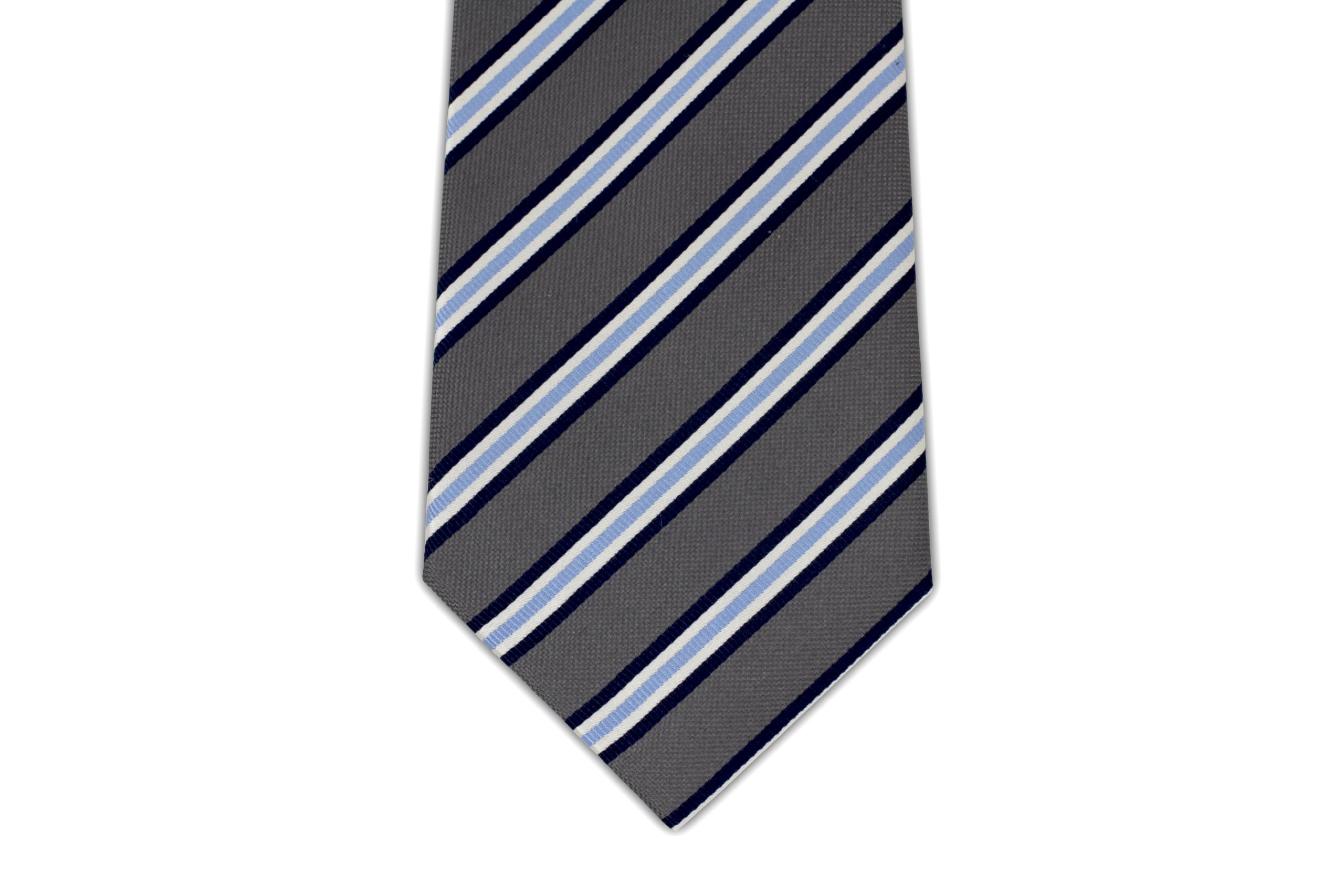Extra Long Gray and Blue Striped Silk Tie by Longtiestore (Image #3)