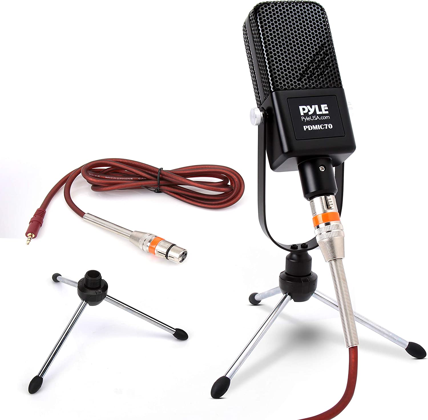 Large Diaphragm Condenser Microphone Kit - Cardioid Condenser Mic w/Desktop Stand, LED, XLR Audio Cable, for Gaming, Streaming, Podcast, Recording, Studio Vocal, YouTube, Voice Over - Pyle PDMIC70