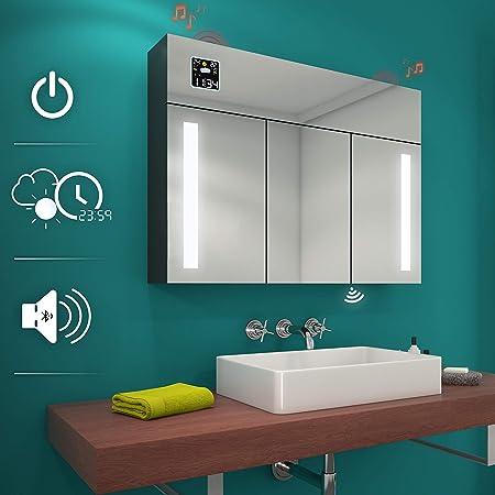 Specchio Bagno Led 100.Armadietto Da Bagno Con Specchio E Illuminazione Led 100 X 72 X 17