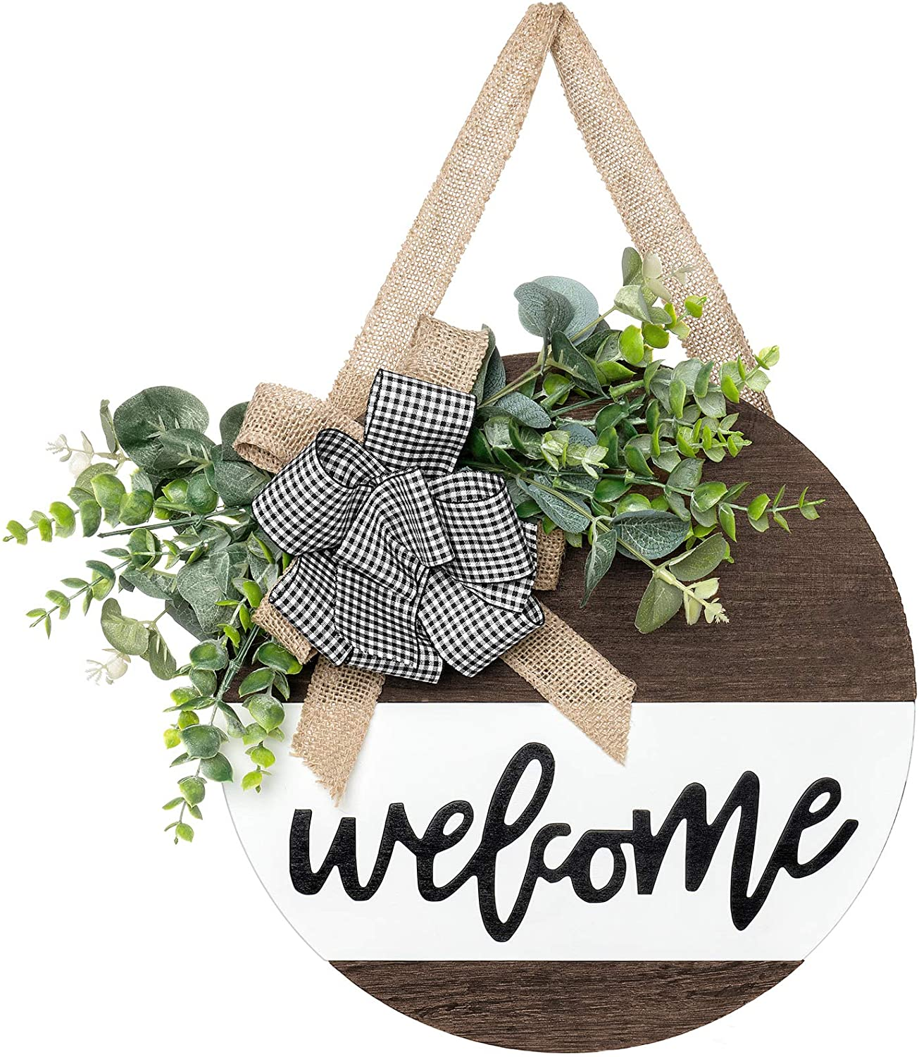 Dahey Rustic Welcome Sign with Artificial Eucalyptus Front Door Decor Round Wood Hanging Sign Farmhouse Porch Decorations for Home Outdoor Indoor, Brown and White