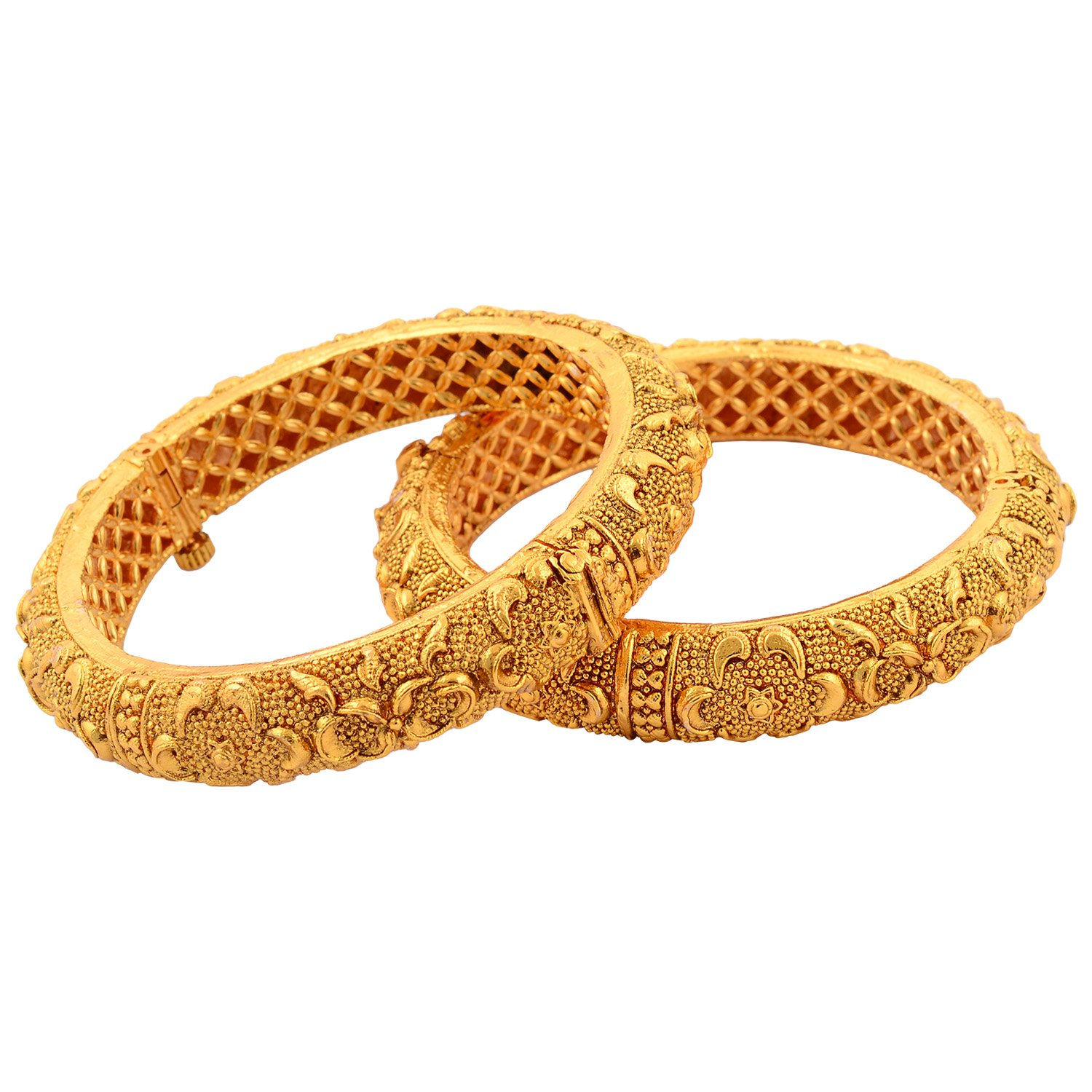 Buy New Amrit 1 Gram Gold Plated Bangles (1 pair) Online at Low ...