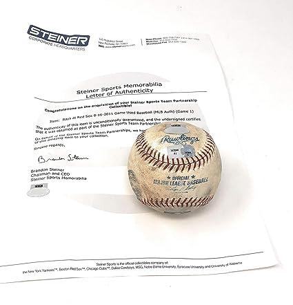 Boston Redsox 8 16 11 Vs Tampa Bay Devil Rays Game Used MLB Baseball ... 95a3de8e3